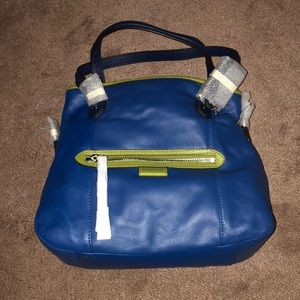 New coach blue and green satchel